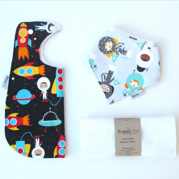 Astronauts Baby Gift Set, Baby shower Gift,Baby shower, Bamboo Bib Set, Reusable Wipes, Baby Shower, baby gift