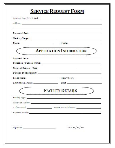 Medical Service Request Form A service request form is a pre - physical exam template