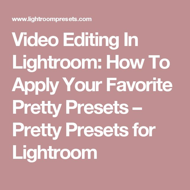 how to change lightroom presets