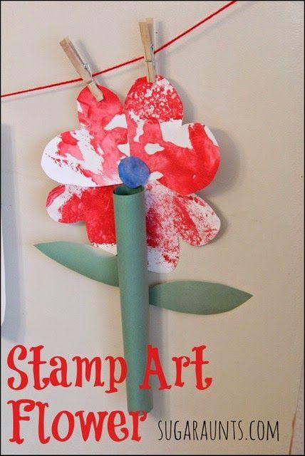 Stamped art flower craft #flower #garden #kids #children #diy #craft #paint #fingerpaint #art #easy #inexpensive #preschool #prek #kindergarten #spring #springtime #home #weekend #rainyday