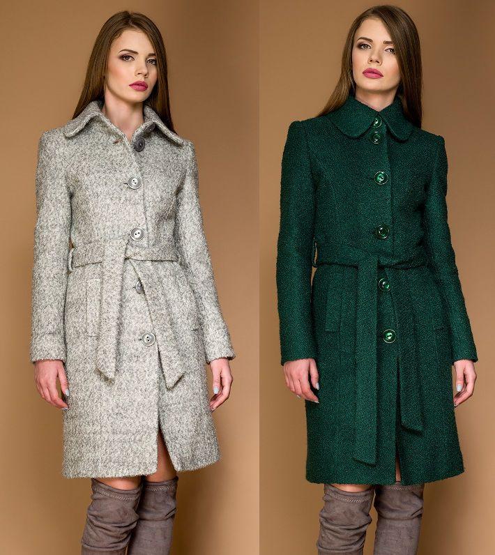 Palton dame clasic din stofa de lana tip bucle OZANA by Ariete Atelier