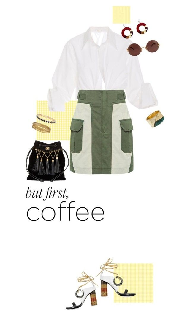 """coffee first"" by fanfan-zheng ❤ liked on Polyvore featuring Johanna Ortiz, Marissa Webb, Proenza Schouler, Robert Lee Morris, Emily & Ashley, Miu Miu and Cartier"