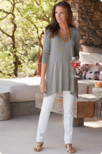 Pretty white stretch pants to wear with the beautiful tops you'll find at Soft Surroundings.