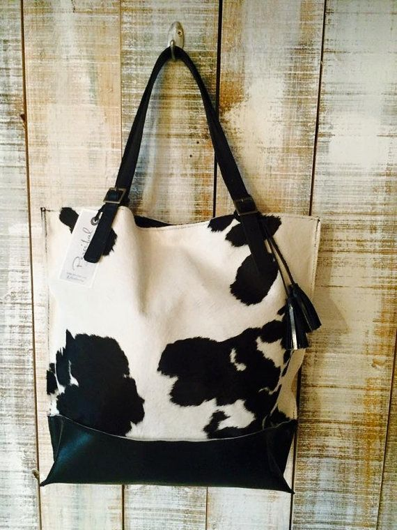 Black and white tote cowhide tote bag cow hide purse by Percibal