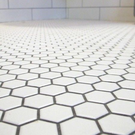 White Hexagon Tile Floor With Pewter Gray Grout For The Bathroom Part 89