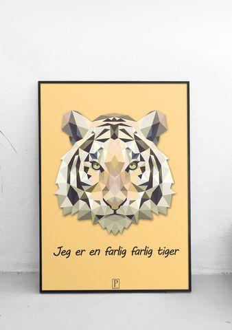 Plakat med en farlig farlig tiger
