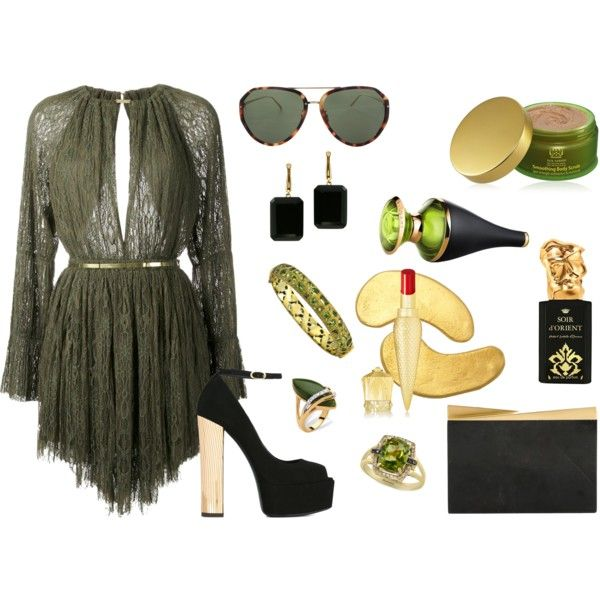 How to...Olive green chic by vicky-angelidou-pappas on Polyvore featuring Jay Ahr, Giuseppe Zanotti, Nathalie Trad, Effy Jewelry, Divya Diamond, Joan Hornig, Palm Beach Jewelry, Linda Farrow, Christian Louboutin and Bulgari