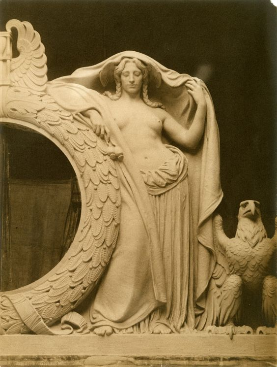 "Down to its most minute details, Penn Station ""Night"" sculpture by Adolph A. Weinman, for the right of the Penn Station clock. Photograph by De W.C. Ward. McKim, Mead & White Architectural Record Collection, PR 042. NYHS Image #61175."
