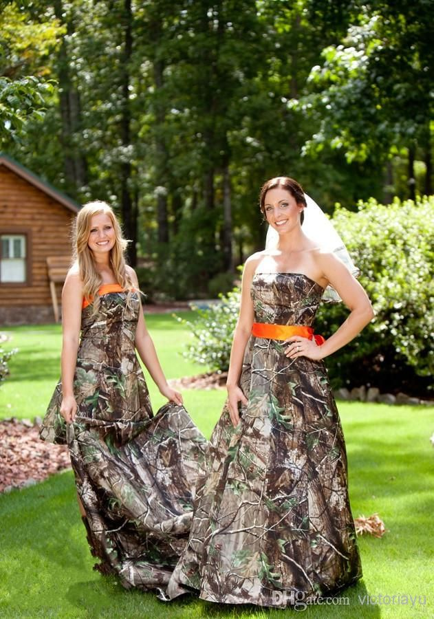 Popular  Fashion Strapless Lace up Floor length Camo Forest Wedding Dress with Waistband