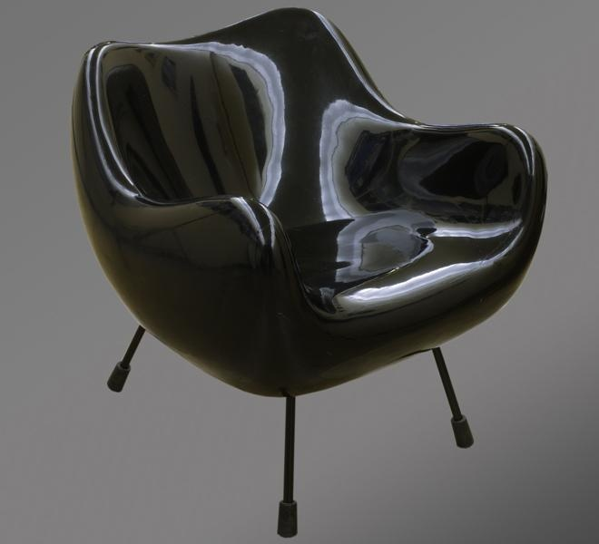 Roman Modzelewski armchair designed in 1958 - one of few existing pieces (the black version is owned by Polish National Museum in Warsaw). Now reintroduced under RM58 name by Vzor.