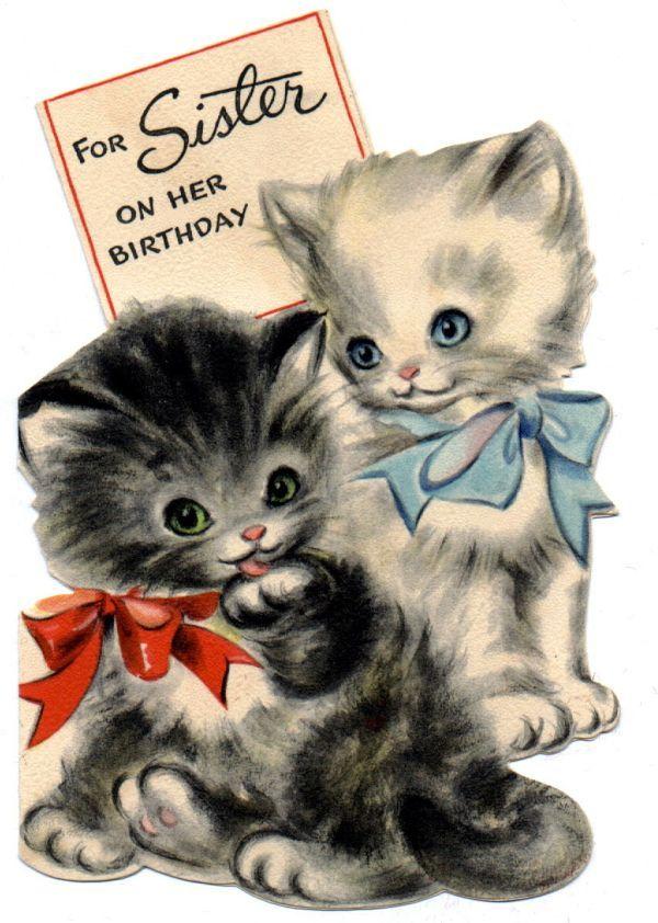 vintage card - 2 kittens  #vintage #birthday #cards