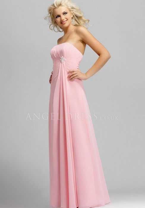 Chiffon A line Strapless Empire Floor Length With Ruffles Bridesmaid Dresses