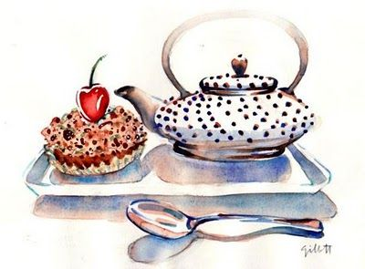 Lovely watercolor by Carol Gillott at Paris Breakfast.