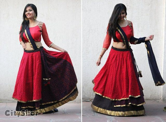 Beautiful red and black combination chaniyacholi Ramleela look
