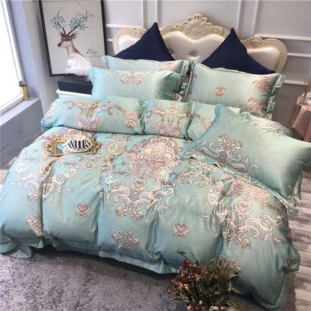 Online Shop Green Pink Blue Luxury Bohemia Style Printing 60s Egyptian Cotton Bedding Set Duvet Cover Bed Bed Linens Luxury Duvet Bedding Sets Bed Linen Design