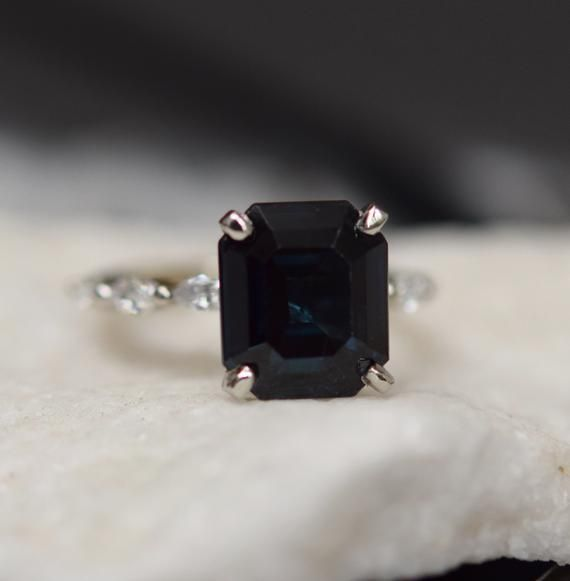 Black Sapphire Ring Emerald Engagement Ring 5 4ct Midnight Etsy In 2020 Black Sapphire Ring Engagement Rings Sapphire White Sapphire Ring