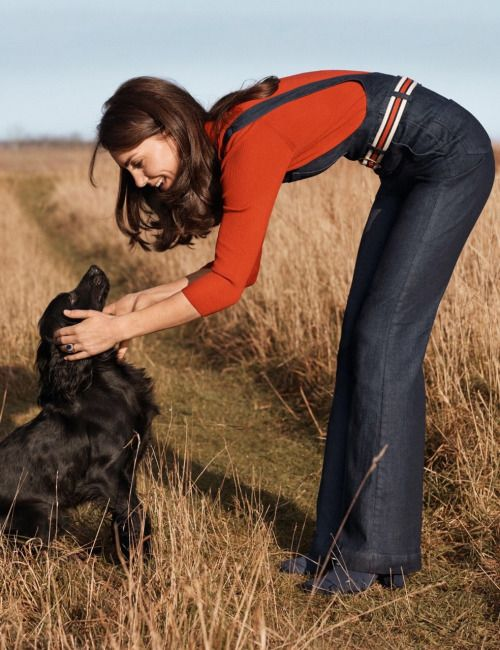 HRH The Duchess of Cambridge and Lupo by Josh Olins for Vogue UK June 2016 Centenary issue - Dungarees, AG Jeans. Sweater, Claudia Schiffer for TSE. #Vogue100
