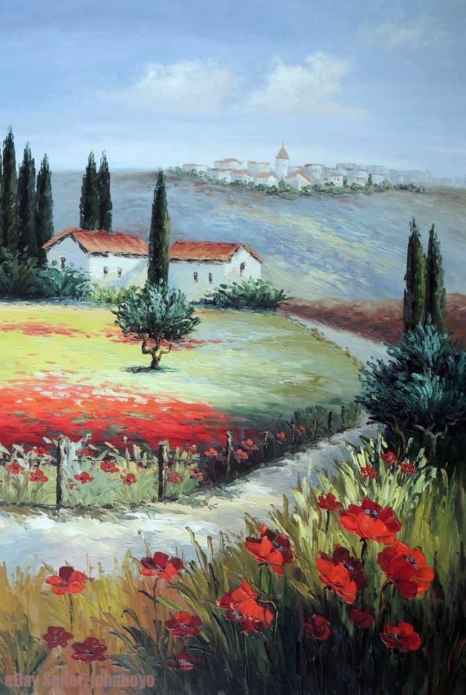 Tuscany Italy Home Village Town Poppy Field Flowers Stretched 24X36 Oil Painting #Postimpressionism