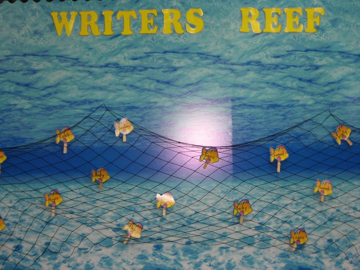 beach themed bulletin boards | This bulletin board displays student's written work. The background is ...