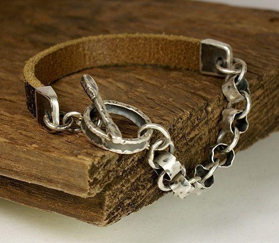 WESTEROS, Natural leather, Sterling Silver Bracelet - Mens Bracelet - Rustic Bracelet - Rocker Jewelry on Etsy, $94.54