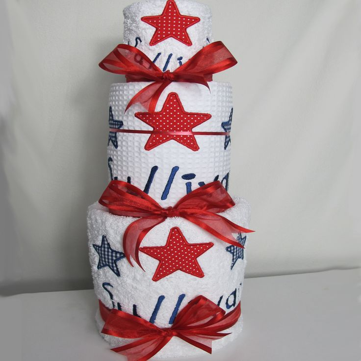 Personalised bath time stars nappy cake. Bath towel, hand towel, face cloth all personalised with stars design.