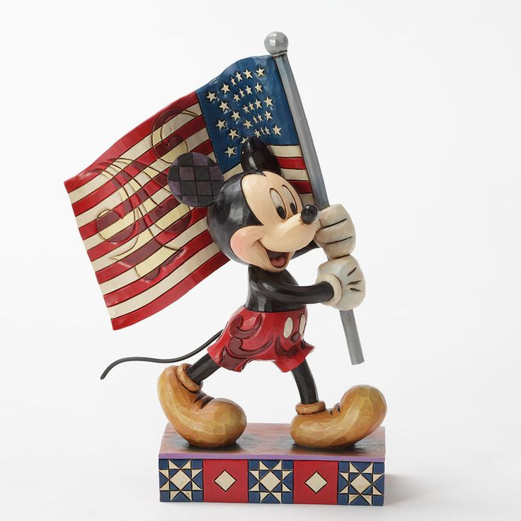Enesco Disney Traditions by Jim Shore Mickey Mouse with Flag Figurine 6.875-Inch