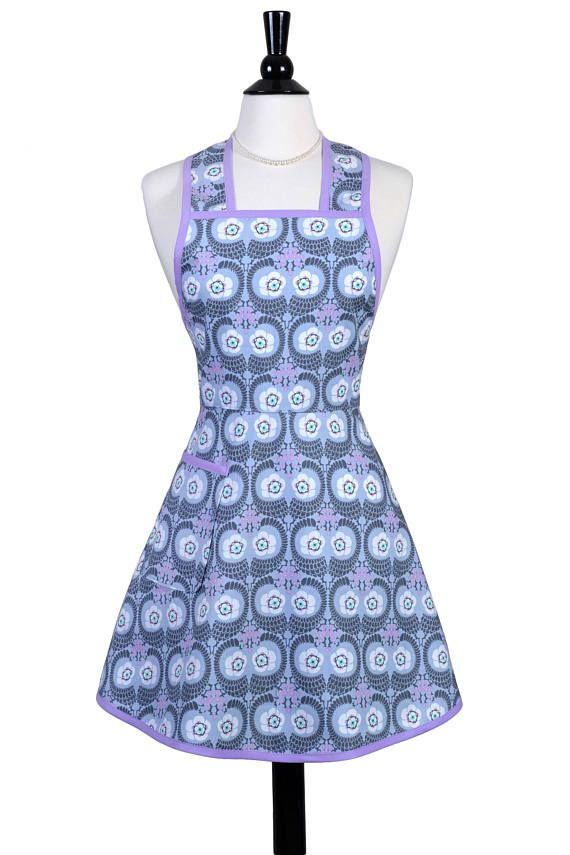 Womens Vintage Apron Modern Blue Lavender Cute Retro 50s Style like Grandma used to wear. #CreativeChics #vintageapron