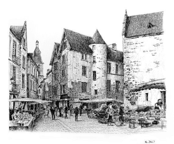Ink drawing la rochelle fine print french town by for Print architectural drawings