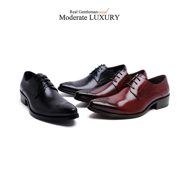 Genuine Leather Pointed Toe Italian Men's Dress Shoes - 2-z667