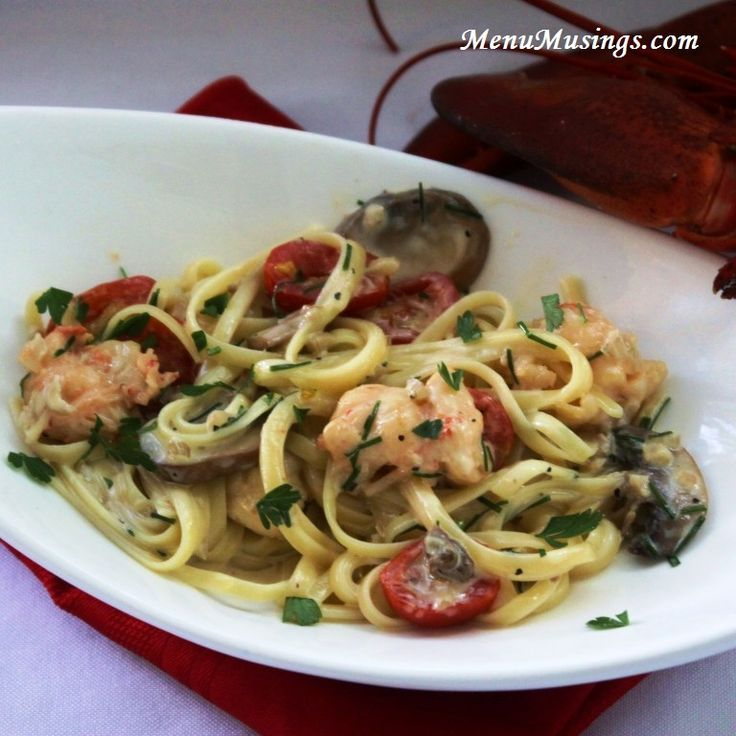 Menu Musings of a Modern American Mom: Lobster Linguine with Cognac Cream Sauce