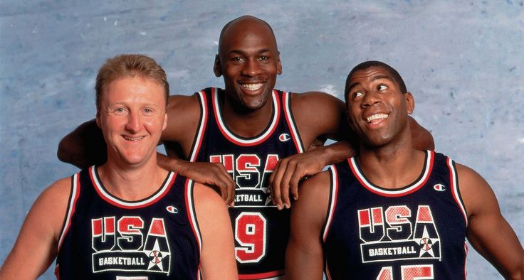 """Members of """"The Dream Team"""" in a photo shoot for the '92 Olympics: Larry Bird, Michael Jordan and Magic Johnson"""