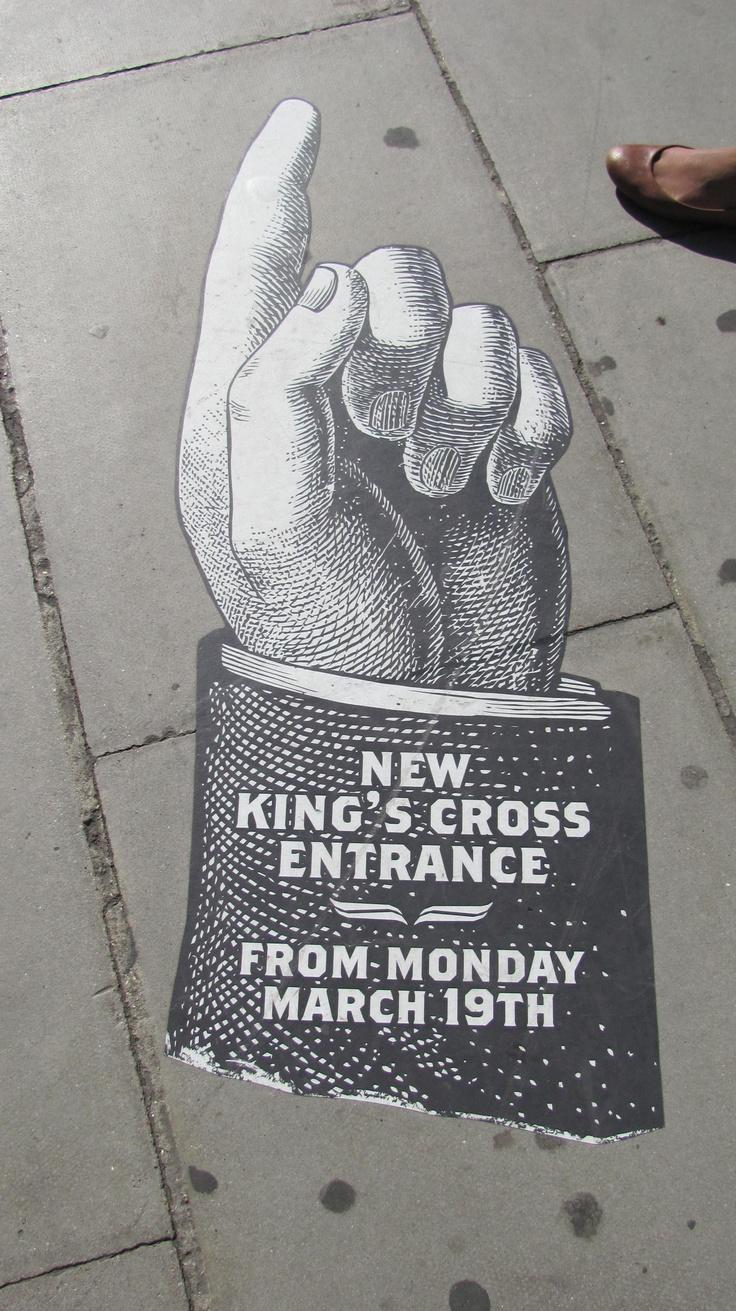 Brilliant navigation signs on the sidewalk