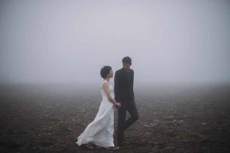 Foggy mountaintop Iceland elopement