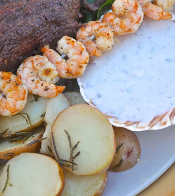 Surf And Turf Dinner Party Ideas Part - 40: Surf And Turf Dinner Party + Rosemary Potato U0026 Yogurt Dipping Sauce Recipe