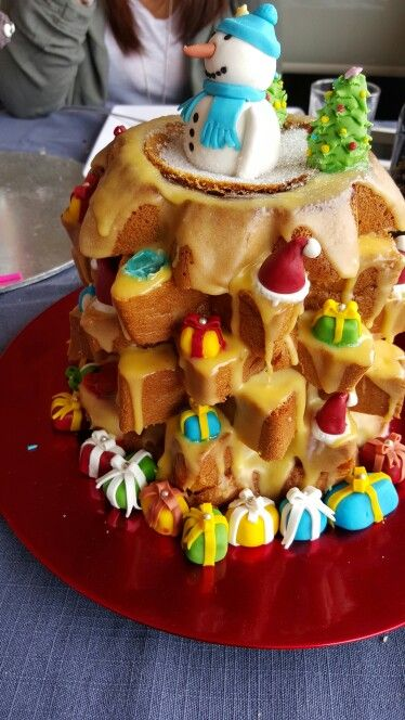 Christmas tree with Pandoro. all decorations are made with fondant.