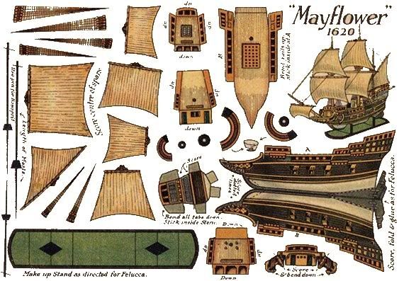 Mayflower papercraft printables pinterest for Cardboard pirate ship template