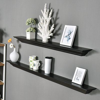 Welland Industries LLC Corona Crown Molding 2 Piece Floating Shelf Set Finish: Espresso