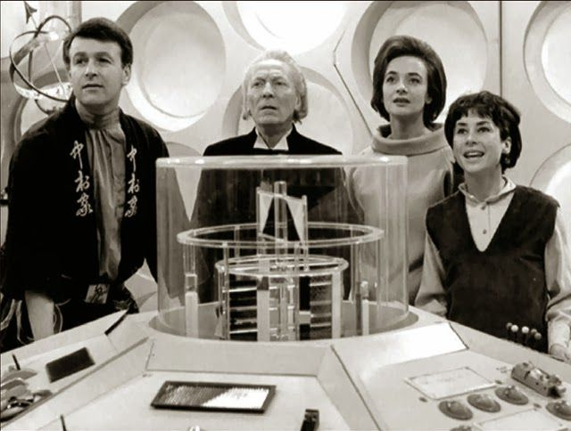 Doctor Who and original companions - left, Ian (William Russel) - and right, Barbara (Jacqueline Hill) then Susan (Carole Ann Ford).