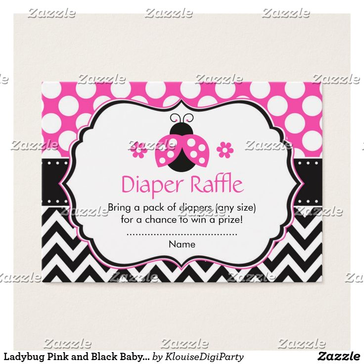 Ladybug Pink and Black Baby Shower Diaper Raffle Business Card
