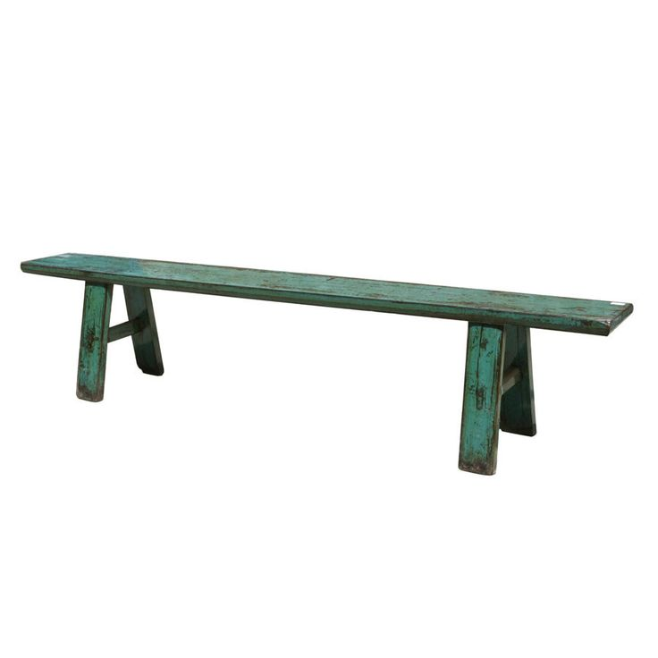 Antique Mint Painted Bench Seat