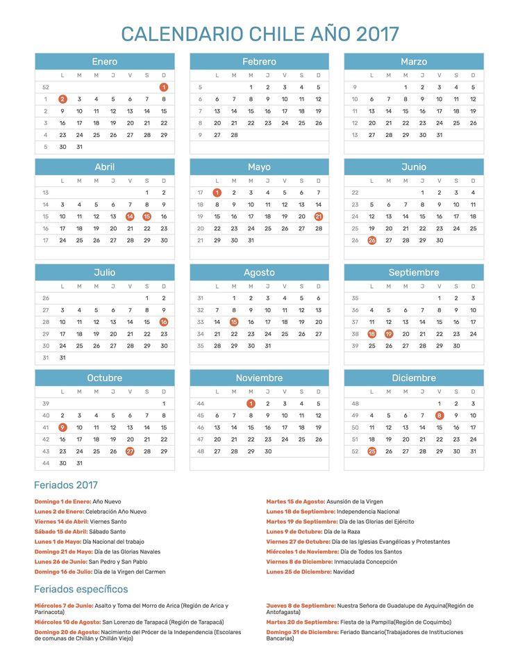 Calendario de Chile con feriados nacionales año 2017. Incluye versión para imprimir en formato JPG y PDF totalmente gratis.
