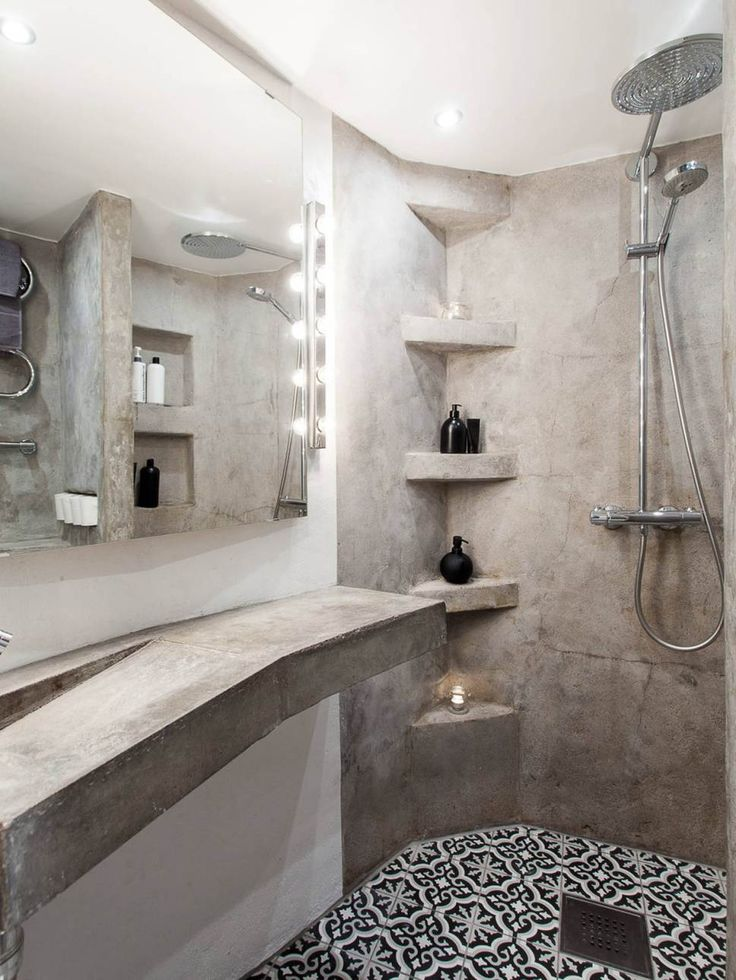 salle de bain ciment et carreaux de ciment , cement bathroom