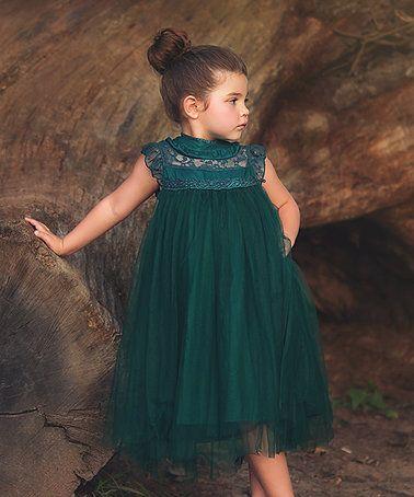 Look what I found on #zulily! Hunter Green Allessandra Dress - Girls by Trish Scully Child #zulilyfinds
