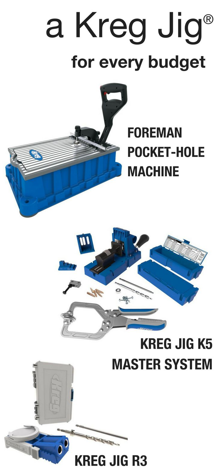 kreg jig projects You don't need a kreg jig to build furniture but we won't build furniture without one now the purpose of a kreg jig is to join two pieces of wood together using a pocket hole.
