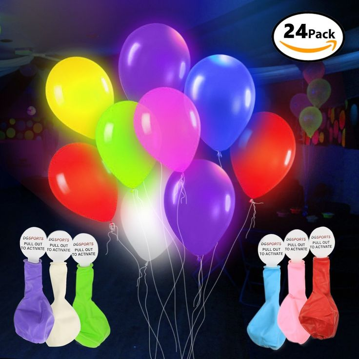 Amazon.com: LED Light Up Balloons – 24 Pack - Mixed Colors – Premium Party Lights – Ideal for Parties, Birthdays and Wedding Decorations – Lasts 8-24 Hours – Fillable with Helium, Air, or Water - by DG Sports: Toys & Games
