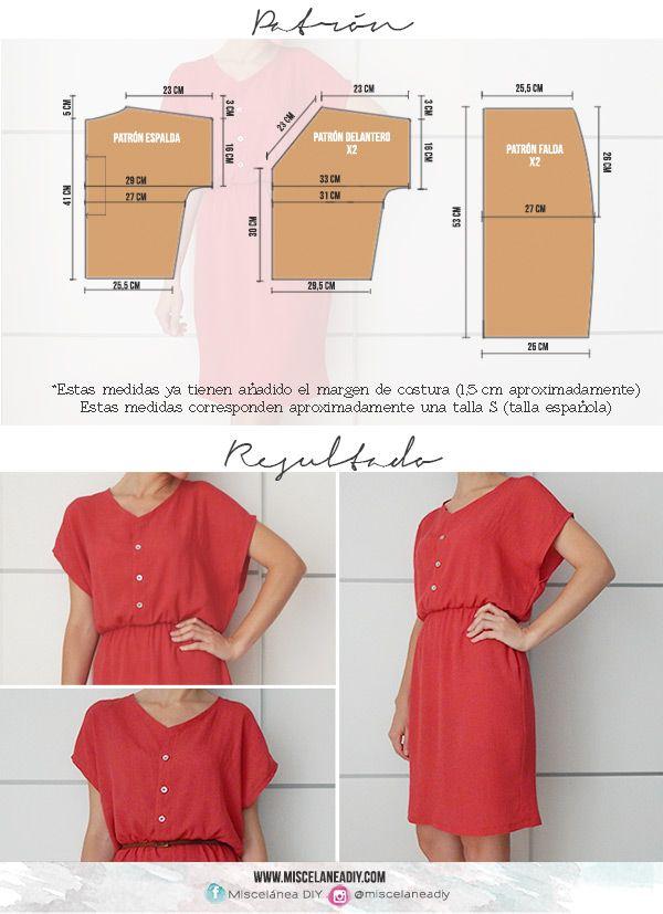 Patrón para hacer este vestido con botonadura delantera | Button Front Dress