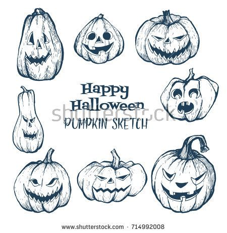 Set of halloween pumpkins with evil scary smile. Pumpkin sketch hand drawn illustration. Halloween night.