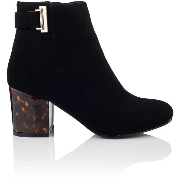 Miss Selfridge ALBERTA Contrast Boot ($34) ❤ liked on Polyvore featuring shoes, boots, black, black boots, low block heel shoes, miss selfridge, miss selfridge shoes and black shoes