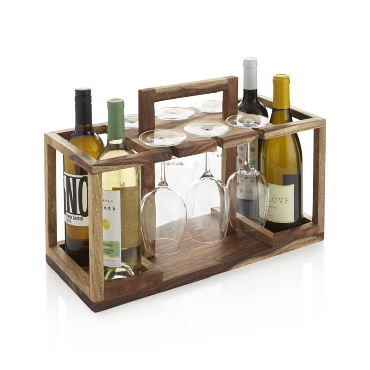 """Beautiful sheesham wood caddy is ready when you are, tidying up the bar with storage for four bottles of wine and racks for up to six wine glasses. Sheesham woodStores up to 4 bottles and six wine glassesHolds wine glasses that are up to 8. 75"""" tall and up to 3"""" wideWipe clean with damp clothMade in India."""