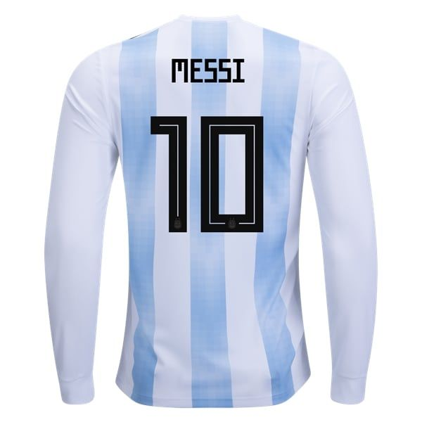 adidas Lionel Messi Argentina Long Sleeve Home Jersey 2018
